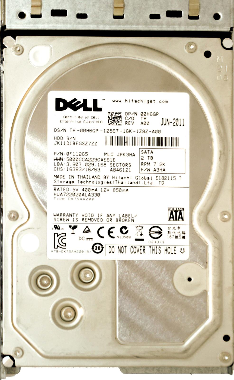 Dell (0H6GP) 2TB SATA II (LFF) 3Gb/s 7 2K in Cloud Series Hot-Swap Caddy