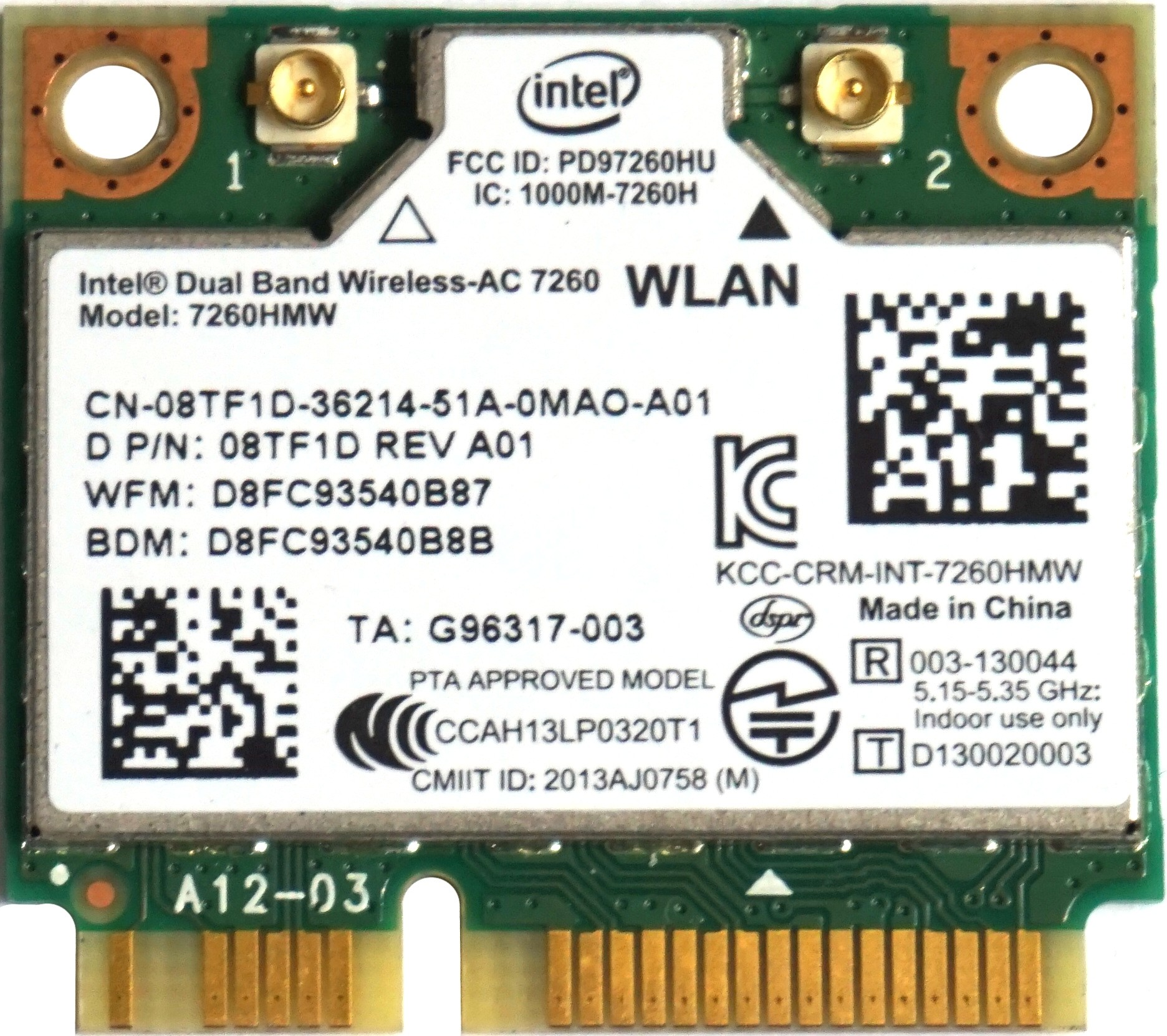 Intel Dual Band 7260HMW - Mini PCIe WiFi-AC & Bluetooth 4 0 LE Card