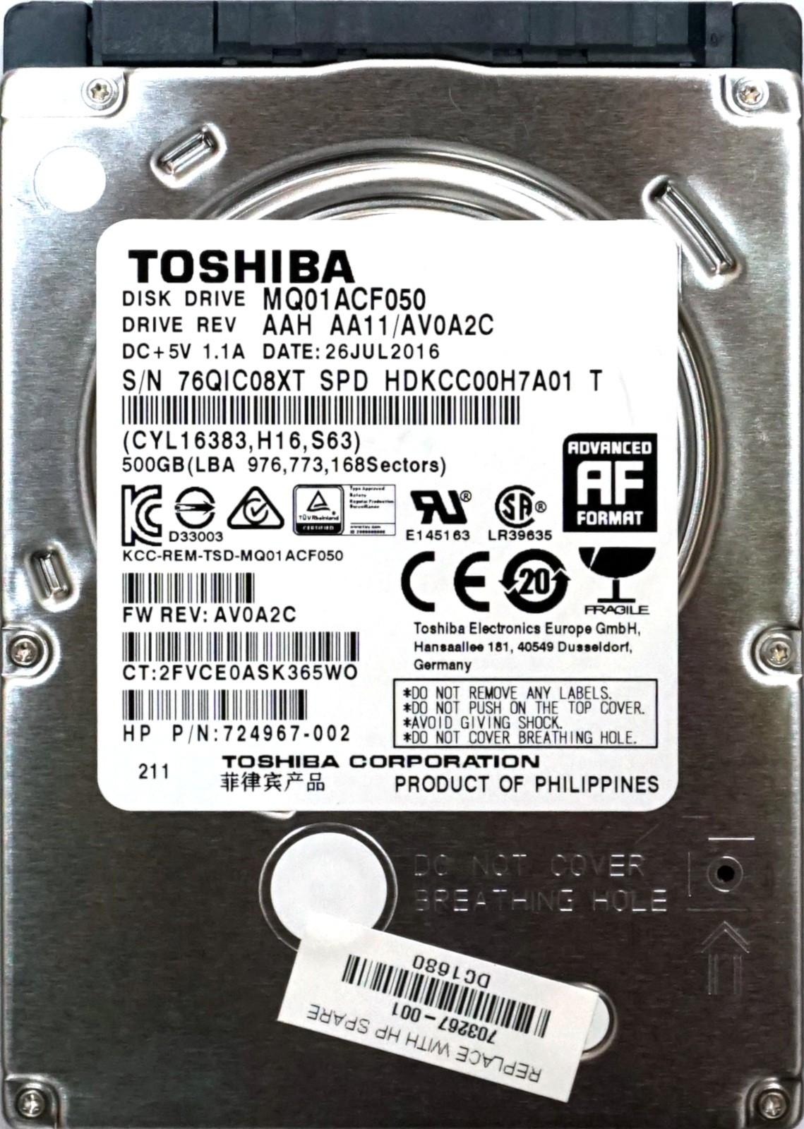 Toshiba (MQ01ACF050) 500GB SATA III (SFF) 6Gb/s 7 2K HDD
