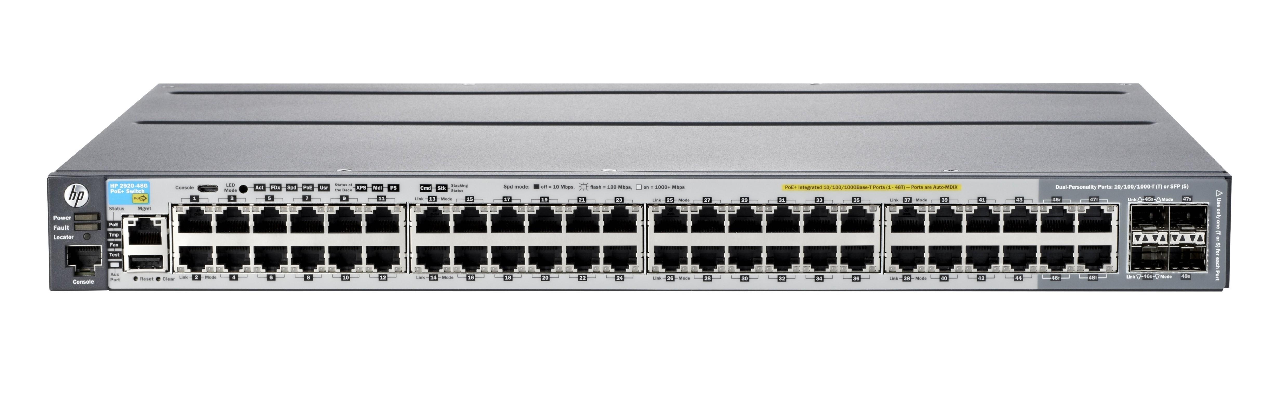 HP (J9836A) Aruba 2920-48G-POE+ 740W - 48 Port RJ-45 PoE+ Switch NEW