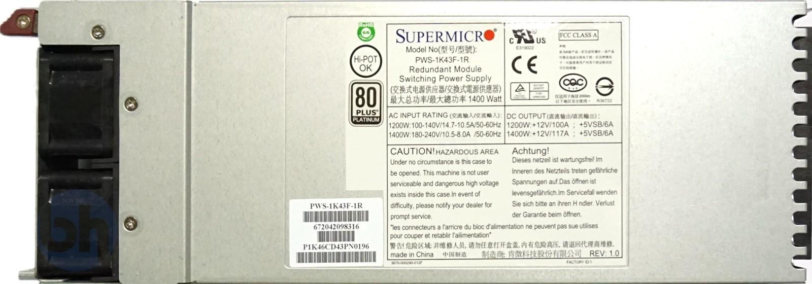 SuperMicro PWS-1K43F-1R 1400W 'Platinum' Hot-Swap PSU