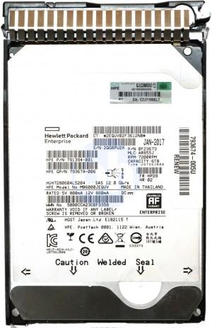 "HP (791394-001) 6TB Helium SAS-3 (3.5"") 12Gbps 7.2K HDD in Gen8/Gen9 Caddy"